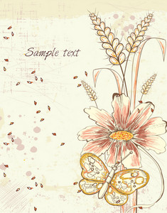 Vector Colorful Floral Background With Butterfly