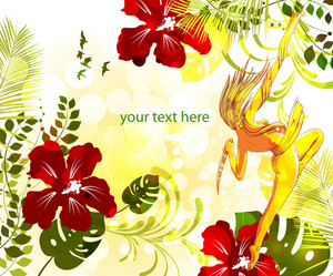 Vector Colorful Floral Background With Sexy Woman