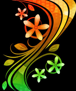 Vector Colorful Floral Background With Waves