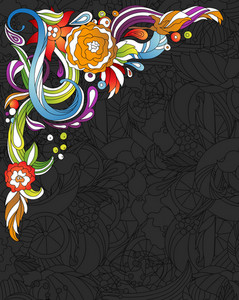 Vector Colorful Floral Corner