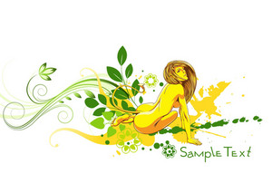 Vector Colorful Floral Illustration With Sexy Woman