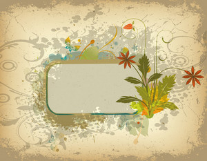 Vector Colorful Grunge Floral Frame