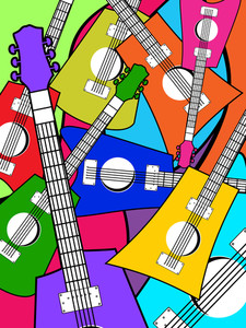 Vector Colorful Guitar Pattern Background