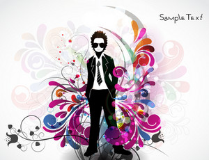 Vector Colorful Illustration With Business Man
