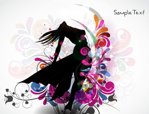 Vector Colorful Illustration With Woman