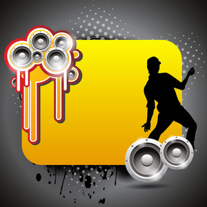 Vector Colorful Music Banner With Shiney Speakers And Dancing Guy Silhouette On Grunge Background10