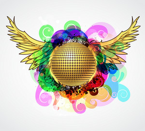 Vector Colorful Music Illustration With Discoball