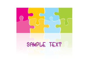 Vector Colorful Puzzle On Background