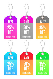 Vector Colorful Shopping Tags Set