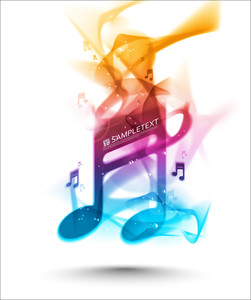 Vector Colourful Ink Melody Musical Note