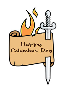 Vector Columbus Day Sword Banner With Fire