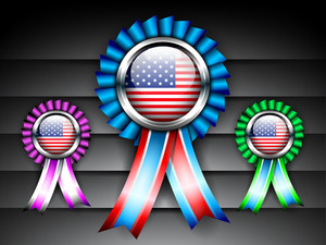 Vector Coluorful Ribbon Set With American Flag