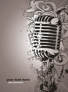 Vector Concert Poster With Microphone