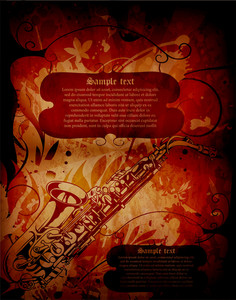 Vector Concert Poster With Saxophone