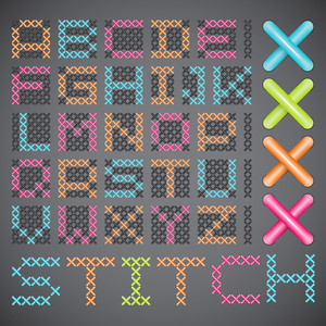 Vector Cross Stitched Fonts