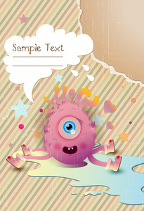 Vector Cute Monster With Chat Bubble