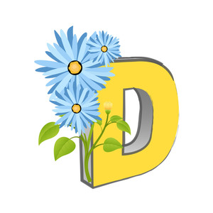 Vector D Alphabet With Flower