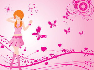 Vector Dancing Girl And Floral Heart