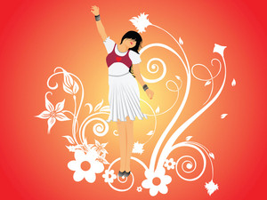 Vector Dancing Girl And Floral_6