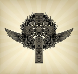 Vector Dark Gothic Illustration With Cross