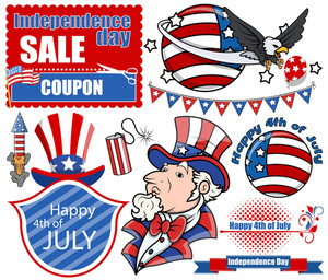 Vector Design Kit For 4th Of July Celebration