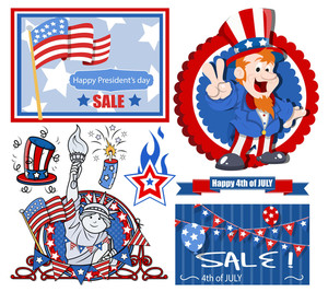 Vector Designs Set For America Independence Day