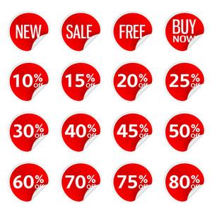 Vector Discount Stickers Set
