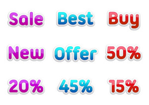 Vector Discount Stickers Set