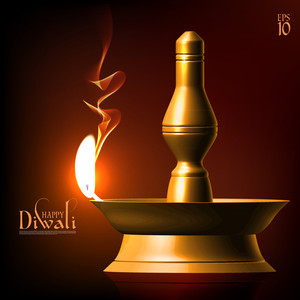 Vector Diwali Oil Lamp