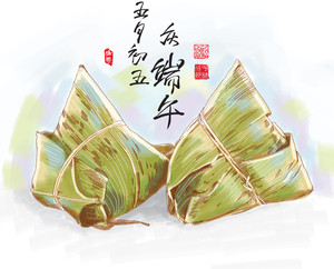 Vector Drawing Of Zongzi - Traditional Dragon Boat Festival Dumpling. Translation: 5th Of May Lunar Calendar