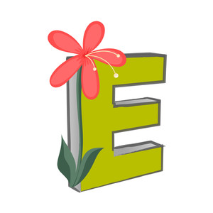 Vector E Alphabet With Flower