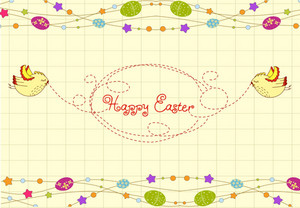 Vector Easter Background With Birds