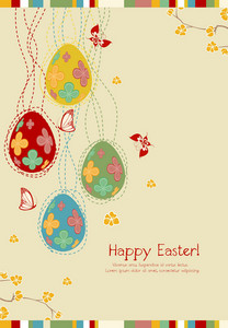 Vector Easter Background With Eggs