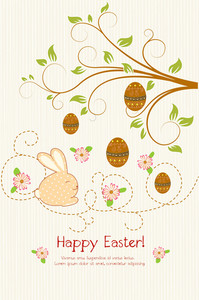Vector Easter Background With Floral