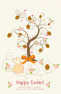 Vector Easter Background With Tree