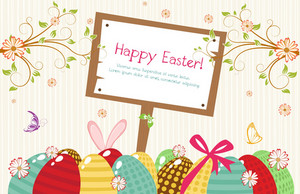 Vector Easter Background With Wood Sign