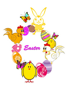 Vector Easter Element Decorated Frame