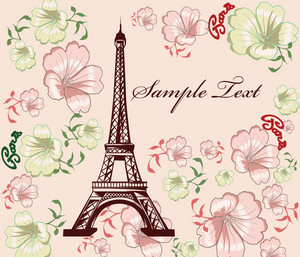 Vector Eiffel Tower With Floral