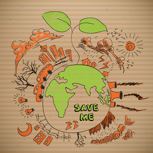 Vector Environmental Save Earth Doodles On Brown Paper