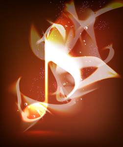 Vector Fire Burning Melody Musical Note