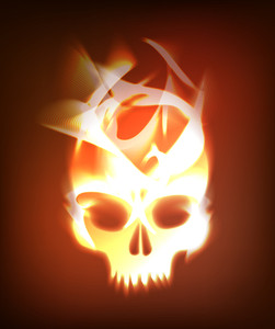 Vector Fire Burning Skull