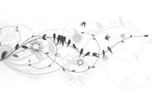 Vector Flock Of Birds With Floral