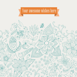 Vector Floral Background. Vintage Retro Background With Floral Ornament.you Can Design Cards
