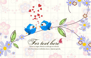 Vector Floral Background With Birds
