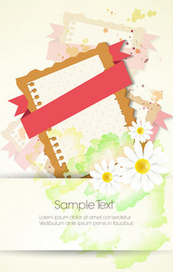 Vector Floral Background With Ribbon