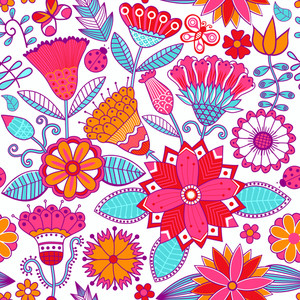 Vector Floral Doodle Floral Texture. Copy That Square To The Side And You'll Get Seamlessly Tiling Pattern Which Gives The Resulting Image The Ability To Be Repeated Or Tiled Without Visible Seams.