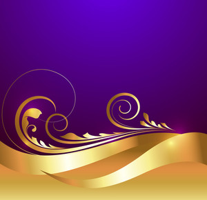 Vector Floral Golden Background
