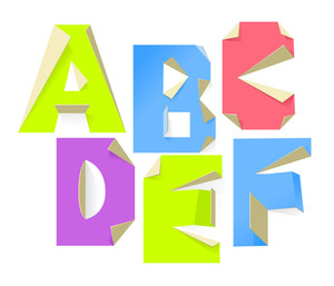 Vector Folded Paper Abc
