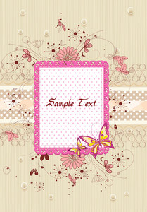 Vector Frame With Grunge And Floral