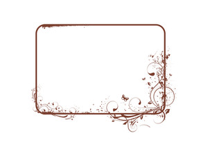 Vector Frame With Grunge Elements And Flowers Theme In Brown